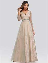 cheap -A-Line V Neck Floor Length Tulle Elegant Formal Evening Dress 2020 with