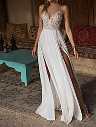 cheap -A-Line V Neck Floor Length Chiffon Spaghetti Strap Made-To-Measure Wedding Dresses with Appliques / Split Front 2020