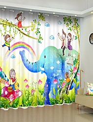 cheap -Children's Painting Style Family and Elephant Digital Printing 3D Window Shade Curtain High Precision Black Silk Fabric High Quality Curtain