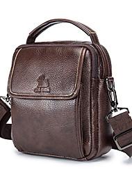 cheap -Men's Zipper Cowhide Crossbody Bag Solid Color Black Grey / Coffee