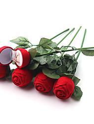 Недорогие -красная роза кольцо коробка персонализированные бархатные свадебные подарочные коробки мода валентинки обручальное коробка упаковка ювелирных изделий цветок