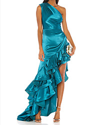 cheap -A-Line One Shoulder Asymmetrical Satin Elegant Formal Evening Dress 2020 with Split Front / Cascading Ruffles