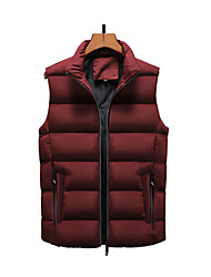 cheap -Men's Daily / Beach Fall / Winter Regular Vest, Solid Colored Stand Sleeveless Polyester Black / Wine / Army Green