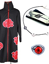 cheap -Inspired by Naruto Akatsuki Itachi Uchiha Anime Cosplay Costumes Japanese Cosplay Suits Cosplay Accessories Anime Cloak Necklace Headband For Men's Women's / Ring