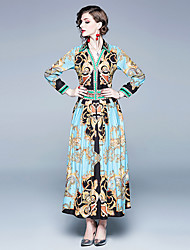 cheap -Women's Maxi Blue Dress Boho Street chic Summer Holiday Going out Swing Abstract Shirt Collar Print S M