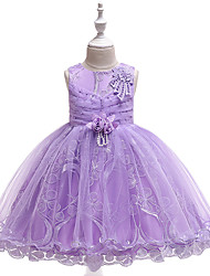 cheap -Kids Toddler Girls' Active Cute Solid Colored Floral Jacquard Lace Beaded Bow Sleeveless Knee-length Dress Purple