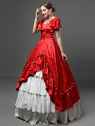 cheap -Princess Rococo Victorian 18th Century Dress Party Costume Costume Women's Cotton Costume Red Vintage Cosplay Masquerade Party & Evening Short Sleeve Floor Length Long Length Plus Size