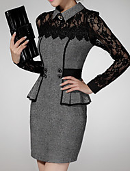 cheap -Women's Elegant Slim Sheath Dress - Geometric Color Block Shirt Collar Red Gray S M L XL