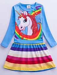 cheap -Kids Girls' Sweet Unicorn Striped Rainbow Cartoon Print Long Sleeve Knee-length Dress Blue / Cotton