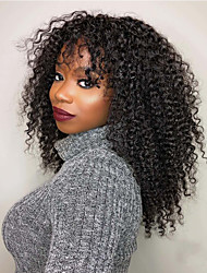 cheap -Human Hair Full Lace Wig Free Part style Brazilian Hair Kinky Curly Black Wig 130% Density Classic Women Adorable Women's Short Long Medium Length Human Hair Lace Wig Clytie
