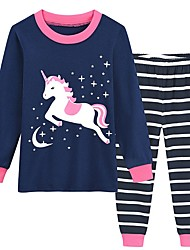Недорогие -Дети Девочки Unicorn С принтом Пижамы Темно синий