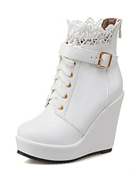 cheap -Women's Boots Wedge Heel Round Toe PU Booties / Ankle Boots Casual / British Fall & Winter Black / White / Party & Evening