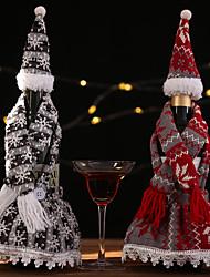 Недорогие -Счастливого Рождества фестиваль партии украшения стола вязаный шарф с капюшоном юбка бутылка комплект