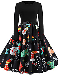 cheap -Women's Swing Dress - Long Sleeve Floral Print Basic Christmas Party Black S M L XL XXL