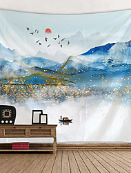 cheap -Chinese Ink Painting Style Wall Tapestry Art Decor Blanket Curtain Hanging Home Bedroom Living Room Decoration Landscape Mountain Bird Sun