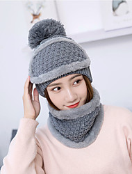 cheap -Women's Basic Cute Acrylic Knitwear Ski Hat-Solid Colored Fall Winter Black Blushing Pink Red
