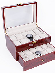 cheap -Wooden Watch Box 20 Slots Glass Top Wood Watches Display Case Jewelry Storage Organizer with 20 Removable Soft Cushions for Men Women Collection Boxes