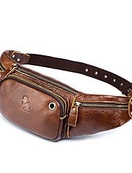 cheap -Men's Zipper Cowhide Sling Shoulder Bag Solid Color Brown