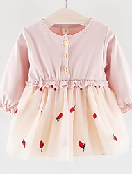 cheap -Baby Girls' Basic Color Block Long Sleeve Dress Blushing Pink