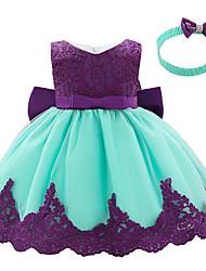abordables -bébé Fille Actif / Basique Couleur Pleine Noeud / Garniture en dentelle Sans Manches Mi-long Robe Violet
