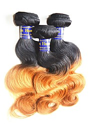 "cheap -3 Bundles Peruvian Hair Body Wave Virgin Human Hair Unprocessed Human Hair Ombre Hair Weaves / Hair Bulk 12""~26"" Multi-color Human Hair Weaves Natural Best Quality For Black Women Human Hair"