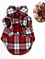 cheap -Dog Shirt Geometic Classic Stripes Check Dog Clothes Puppy Clothes Dog Outfits Red Green Dark Blue Costume for Girl and Boy Dog Linen&Cotton Blend S M L XL