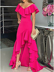 cheap -A-Line Minimalist Pink Party Wear Formal Evening Dress Off Shoulder Sleeveless Asymmetrical Chiffon with Ruffles Split 2020