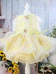 cheap -Dogs Cats Pets Dress Dog Clothes Yellow Costume Polyster Floral / Botanical Lace Wedding XS S M L XL