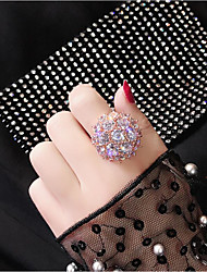 cheap -Women's Ring Cubic Zirconia 1pc Rose Gold White Gold Plated Alloy Round Stylish Party Daily Jewelry Classic Flower Cool