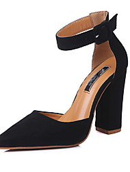 cheap -Women's Heels Chunky Heel Pointed Toe Suede Spring &  Fall Black / Light Brown / Burgundy