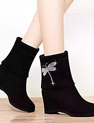 cheap -Women's Boots Hidden Heel Round Toe Animal Print Satin Mid-Calf Boots Casual Walking Shoes Fall & Winter Black