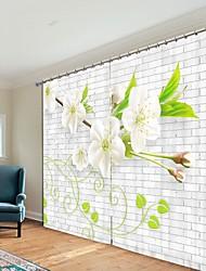 cheap -White Simple Peach Blossom Digital Printing 3D Curtain Shading Curtain High Precision Black Silk Fabric Hgh Quality Curtain