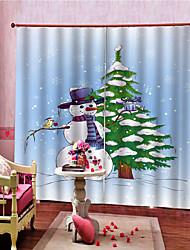 Недорогие -3d рождественские украшения для дома черный шелк 100% затемнения кухонные шторы оттенки