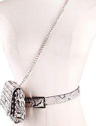 Недорогие -Жен. Кристаллы PU / Сплав Поясная сумка Змеиная кожа Черный / Белый / Хаки