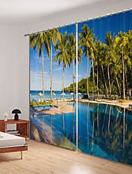 cheap -Bamboo Forest Lake Digital Printing 3D Curtain Shading Curtain High Precision Black Silk Cloth High Quality Curtain