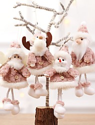 cheap -4pcs Christmas Hanging Christmas Cute Plush Heart Feather Angel Doll Ornaments Christmas Tree Hanging