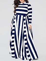 cheap -Women's Maxi Black Dress Elegant Street chic Sheath Swing Striped Crew Neck Black & White Patchwork S M
