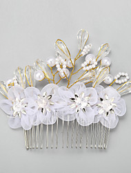 cheap -Crystal / Paillette / Fabrics Hair Combs with Imitation Pearl / Flower / Paillette 1 Piece Wedding Headpiece