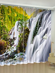 cheap -Waterfall Digital Printing 3D Curtain Shading Curtain High Precision Black Silk Fabric High Quality Curtain
