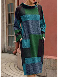 cheap -Women's Daily Wear Street chic Shift Sweater Dress - Color Block Purple Red Green M L XL XXL