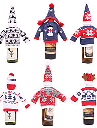 cheap -Christmas Knitted Wine Bottle Cover Bottle Santa Claus Sweater Cover Bag Knitted Hats