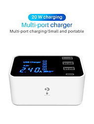 cheap -Multi-port USB Intelligent Digital Display Charger Mobile Phone Tablet Universal Type-c Fast Charge 20W Multi-Function Travel Charger