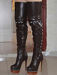 cheap -Women's Boots Knee High Boots Stiletto Heel Round Toe Rivet PU Knee High Boots Fall & Winter Black