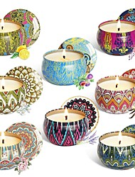 cheap -8pcs/set Scented Candle Gift Set Natural Plant Soy Wax Smokeless Candle Set Aromatherapy Candle Set