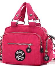 cheap -Women's Bags Nylon Crossbody Bag Zipper Solid Color Daily MessengerBag Black Fuchsia