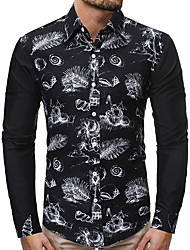 cheap -Men's Daily Punk & Gothic Shirt - Graphic Tropical Leaf, Print Black