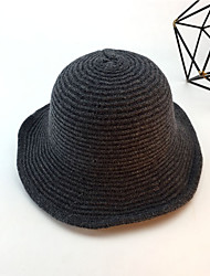 cheap -Women's Party Basic Cute Wool Bucket Hat-Solid Colored Spring Fall Black Wine Light gray