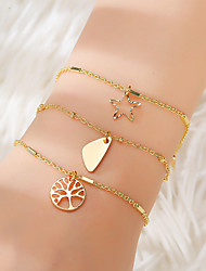 cheap -3pcs Women's Vintage Bracelet Earrings / Bracelet Pendant Bracelet Layered Tree of Life Star Simple Classic Trendy Fashion Cute Alloy Bracelet Jewelry Gold For Gift Daily School Holiday Festival