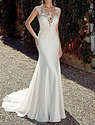 cheap -Mermaid / Trumpet Wedding Dresses Jewel Neck Sweep / Brush Train Chiffon Cap Sleeve Illusion Detail Backless with Lace Insert 2021