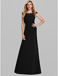 cheap -Women's Maxi Black Dress Elegant Formal Evening Theme Party Bodycon Trumpet / Mermaid Solid Colored S M Slim / Lace